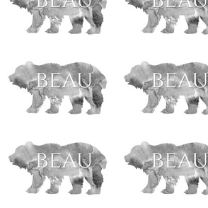 Watercolor Bears with the Name Beau