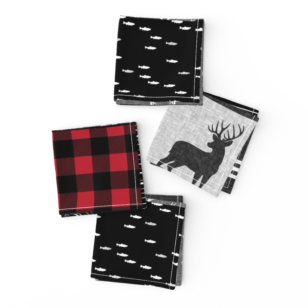 Frizzle Cocktail Napkins featuring little man - red and black deer (buck) quilt woodland by littlearrowdesign