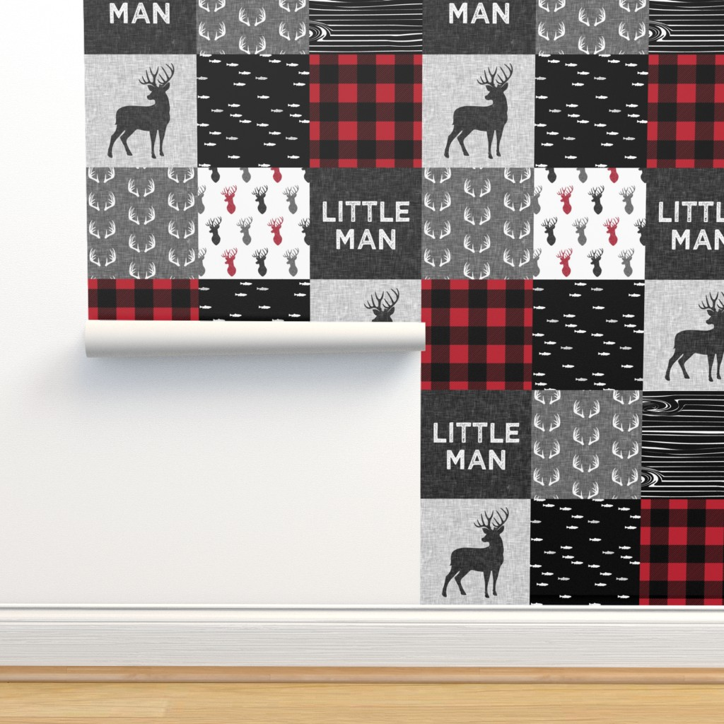 Isobar Durable Wallpaper featuring little man - red and black deer (buck) quilt woodland by littlearrowdesign