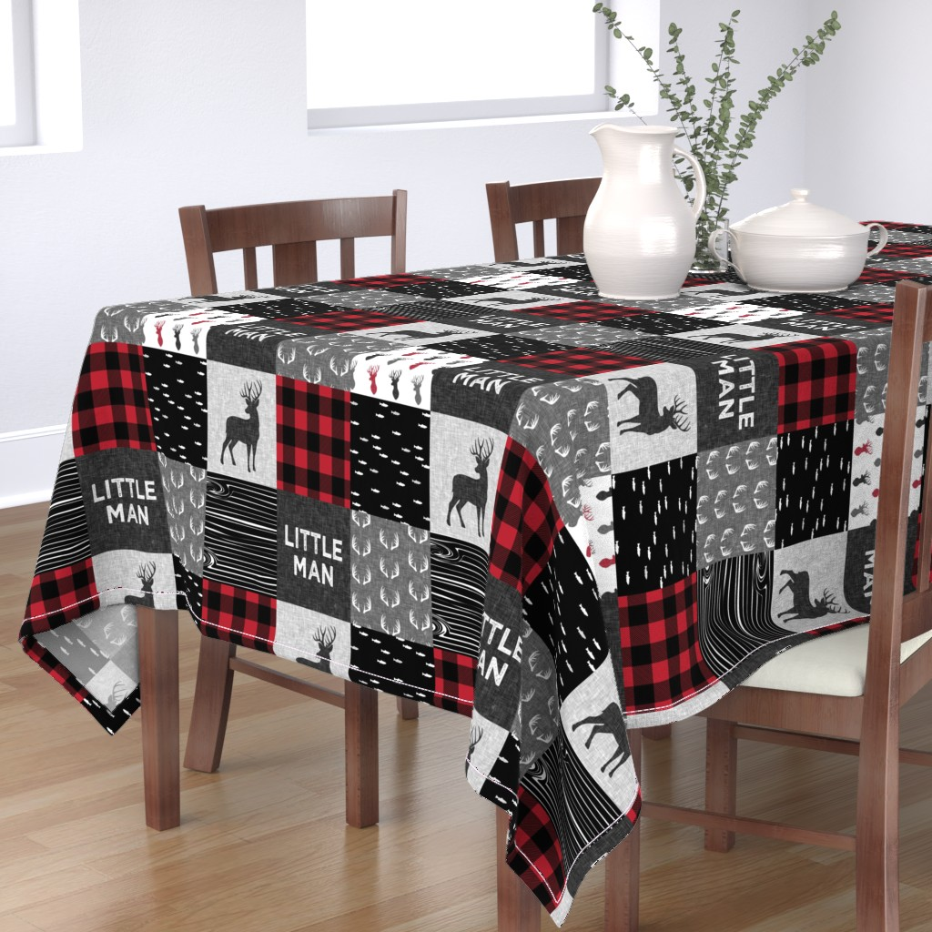 Bantam Rectangular Tablecloth featuring little man - red and black deer (buck) quilt woodland by littlearrowdesign