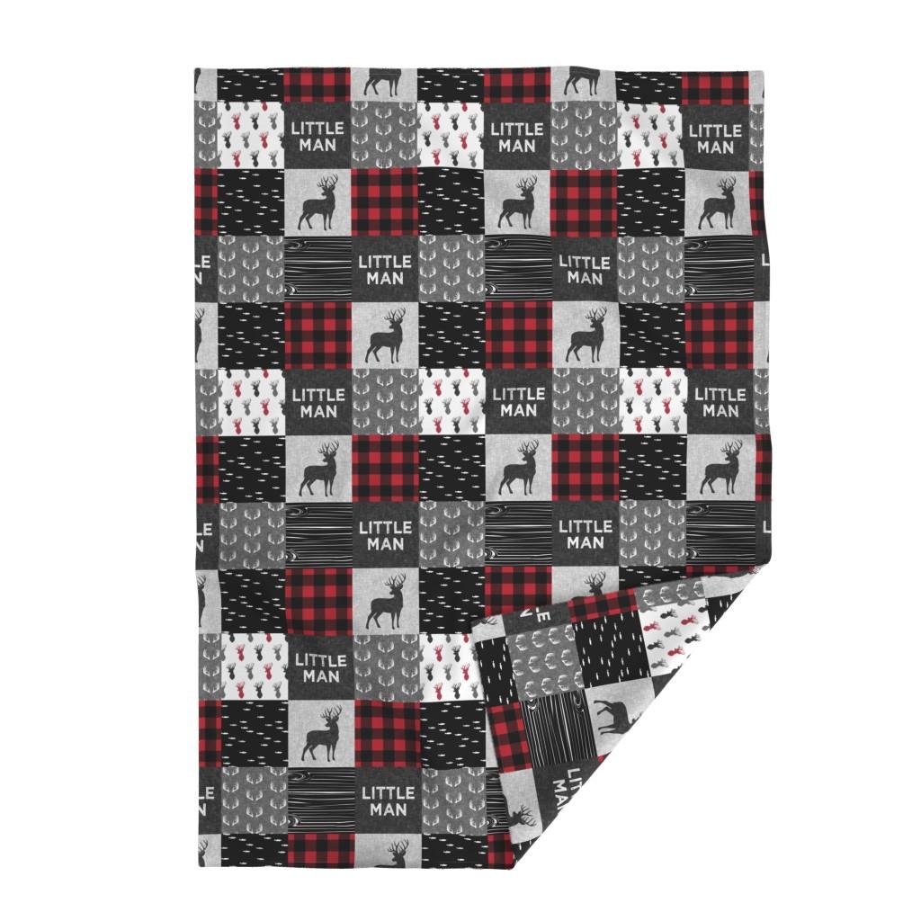 Lakenvelder Throw Blanket featuring little man - red and black deer (buck) quilt woodland by littlearrowdesign