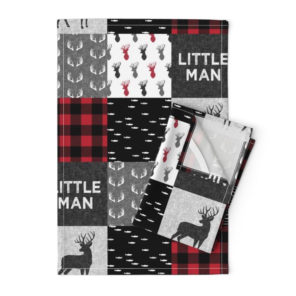Orpington Tea Towels featuring little man - red and black deer (buck) quilt woodland by littlearrowdesign