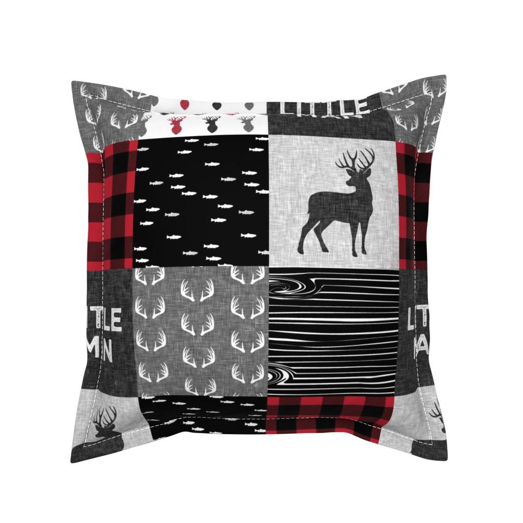 Serama Throw Pillow featuring little man - red and black deer (buck) quilt woodland by littlearrowdesign