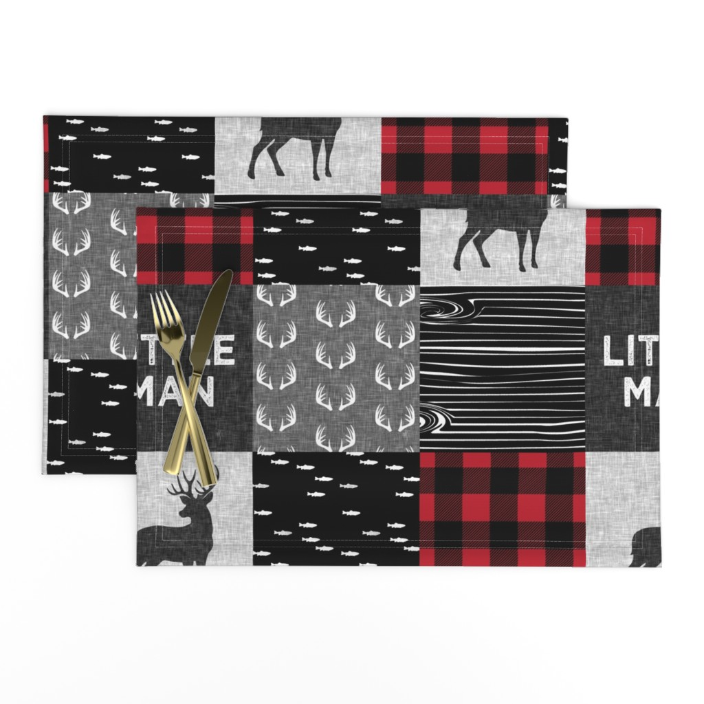Lamona Cloth Placemats featuring little man - red and black deer (buck) quilt woodland by littlearrowdesign