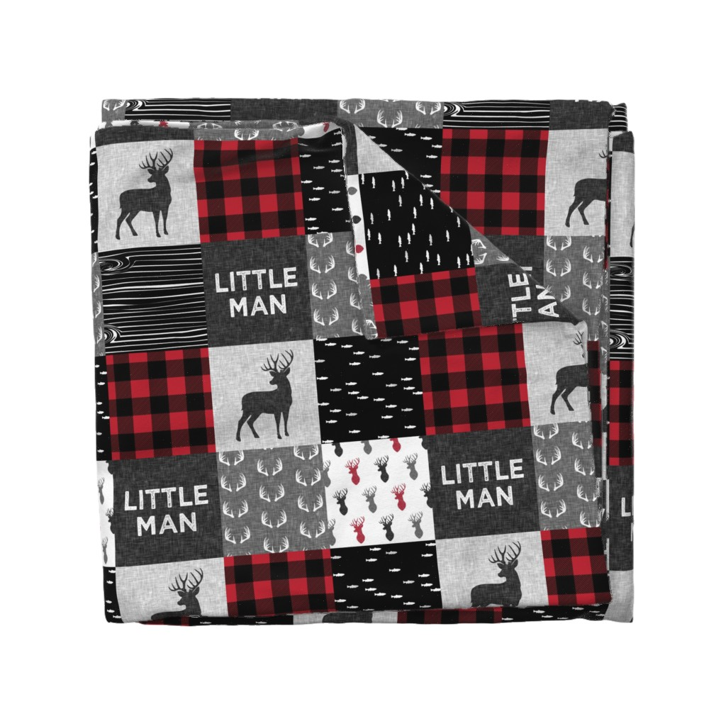 Wyandotte Duvet Cover featuring little man - red and black deer (buck) quilt woodland by littlearrowdesign