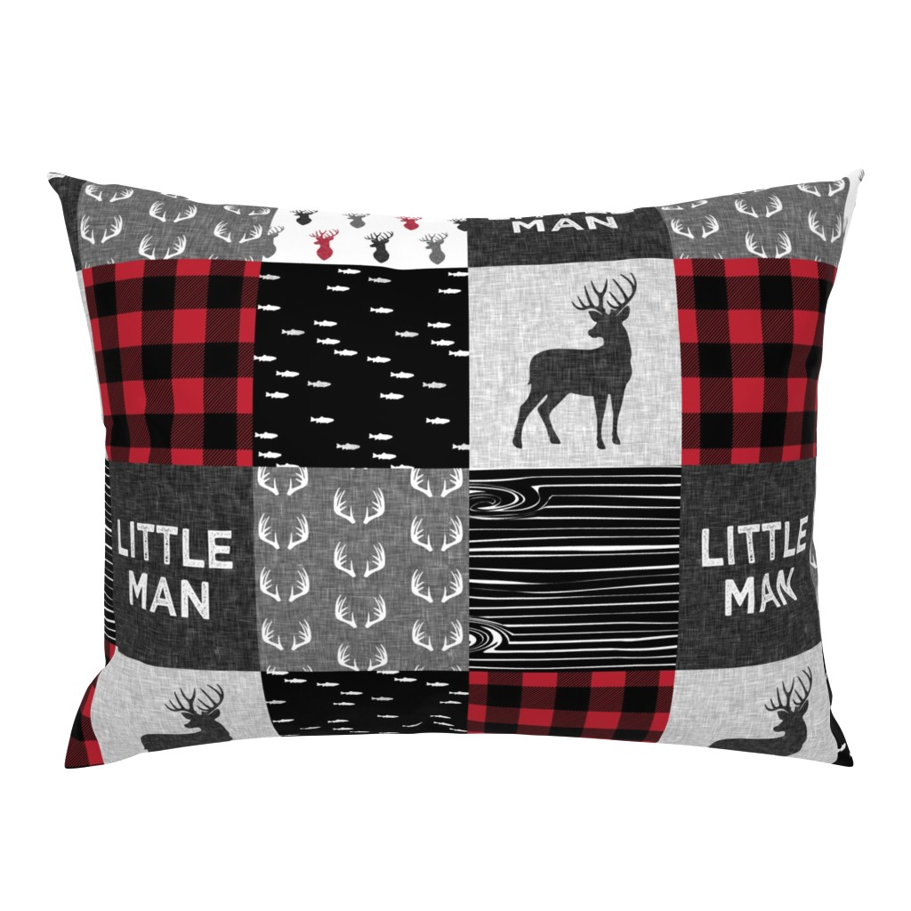 Campine Pillow Sham featuring little man - red and black deer (buck) quilt woodland by littlearrowdesign