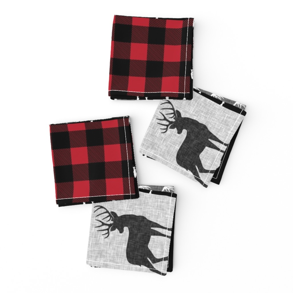 Frizzle Cocktail Napkins featuring little man (90) - red and black deer  (buck) quilt woodland by littlearrowdesign