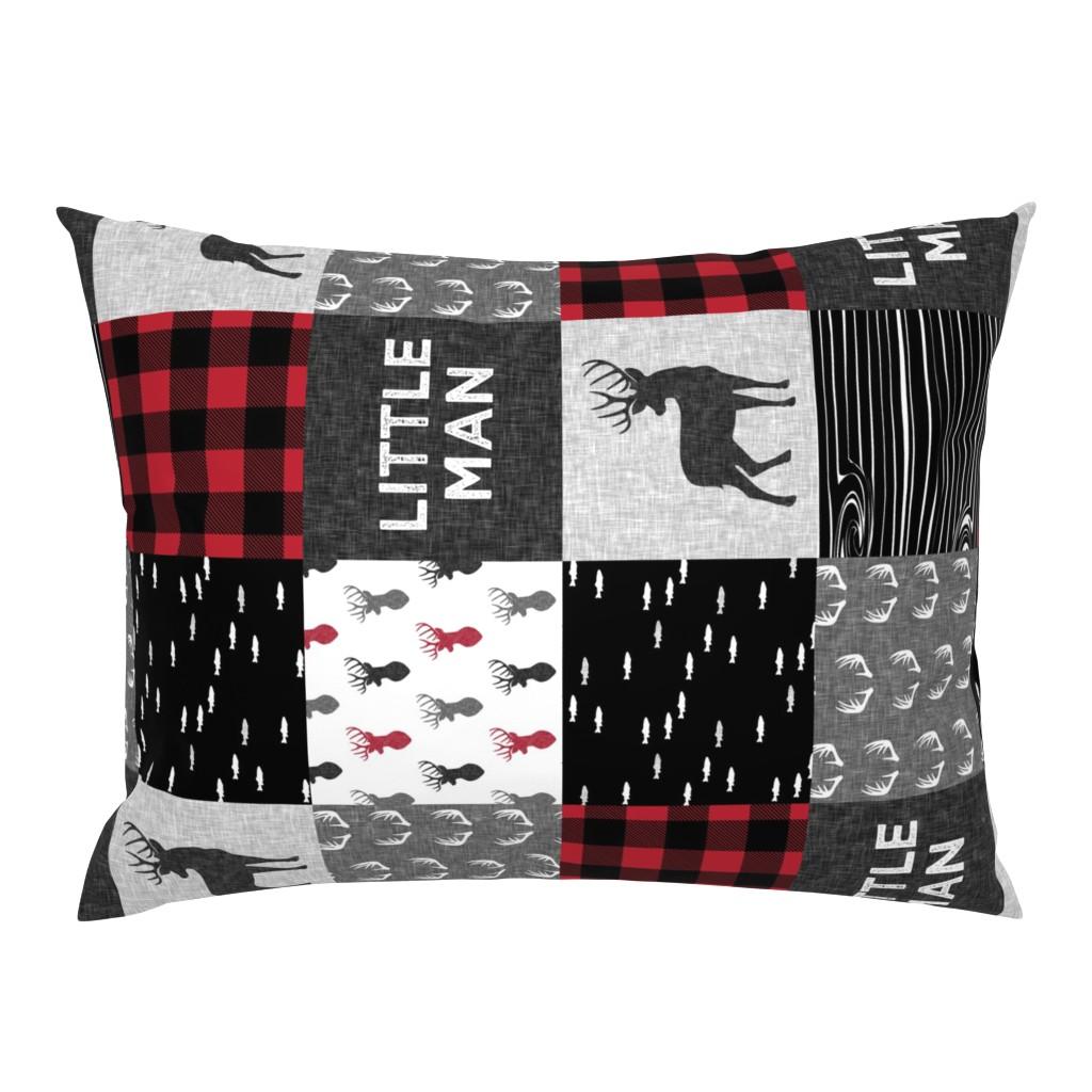 Campine Pillow Sham featuring little man (90) - red and black deer  (buck) quilt woodland by littlearrowdesign