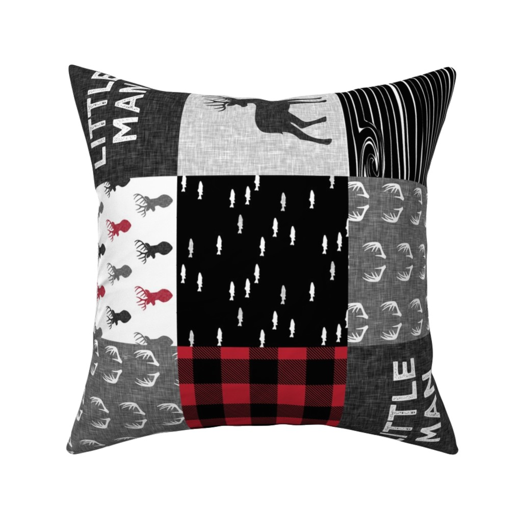 Catalan Throw Pillow featuring little man (90) - red and black deer  (buck) quilt woodland by littlearrowdesign