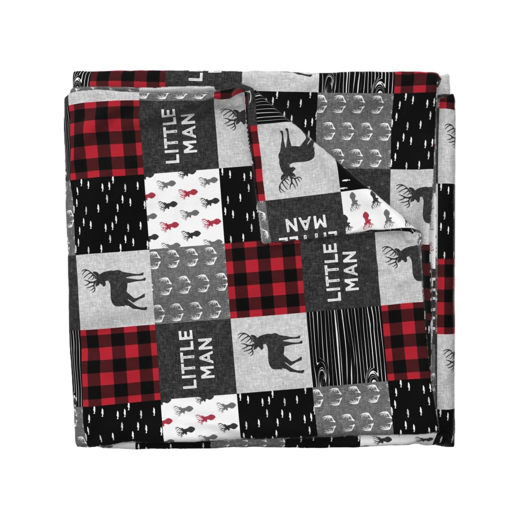 Wyandotte Duvet Cover featuring little man (90) - red and black deer  (buck) quilt woodland by littlearrowdesign