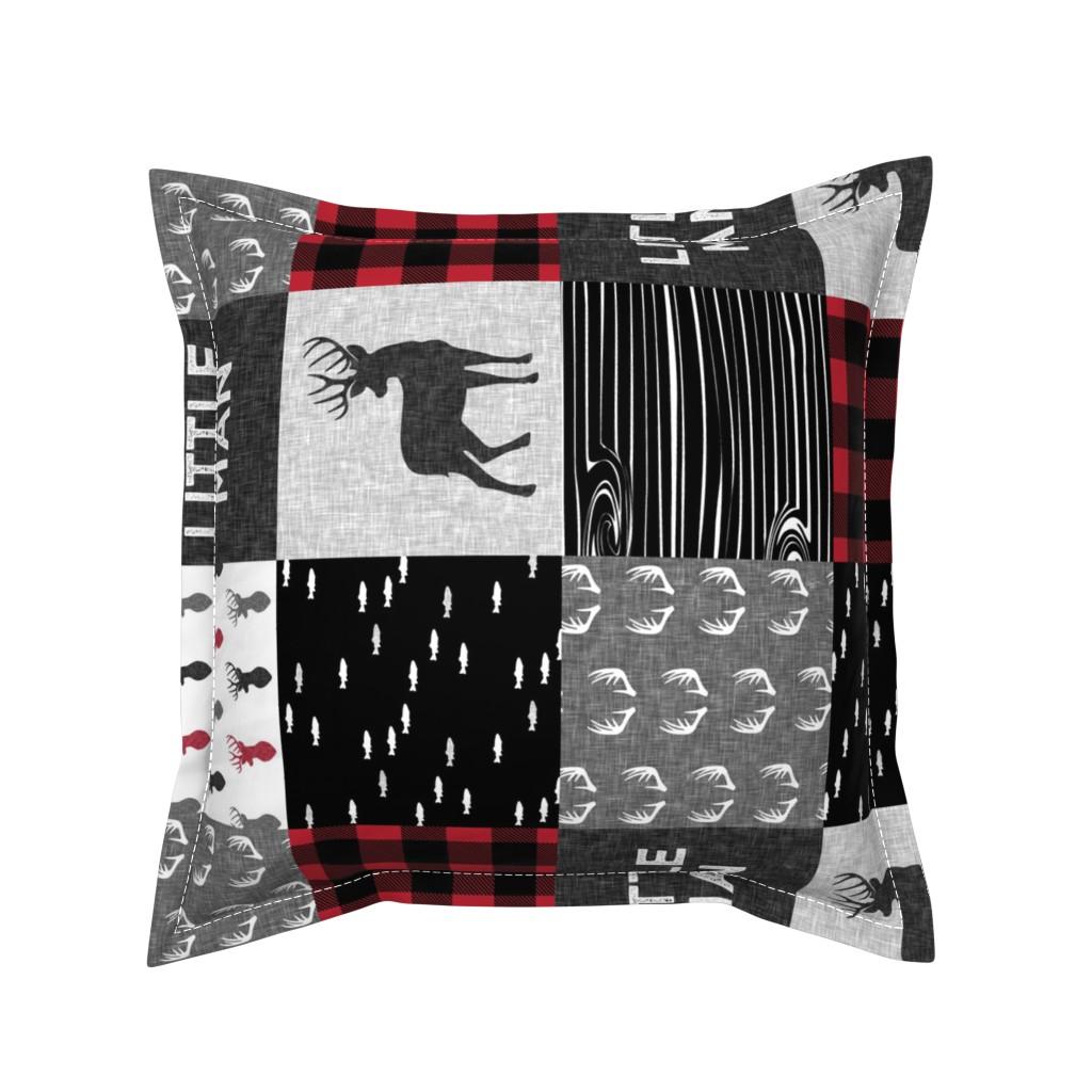 Serama Throw Pillow featuring little man (90) - red and black deer  (buck) quilt woodland by littlearrowdesign