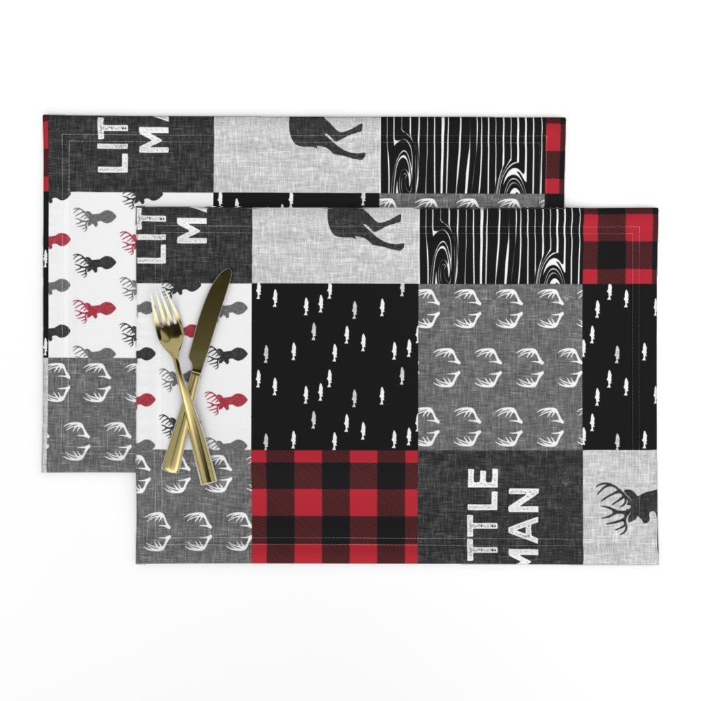 Lamona Cloth Placemats featuring little man (90) - red and black deer  (buck) quilt woodland by littlearrowdesign