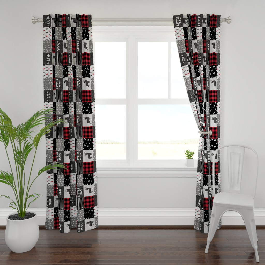 Plymouth Curtain Panel featuring little man (90) - red and black deer  (buck) quilt woodland by littlearrowdesign