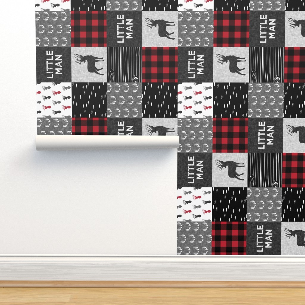 Isobar Durable Wallpaper featuring little man (90) - red and black deer  (buck) quilt woodland by littlearrowdesign