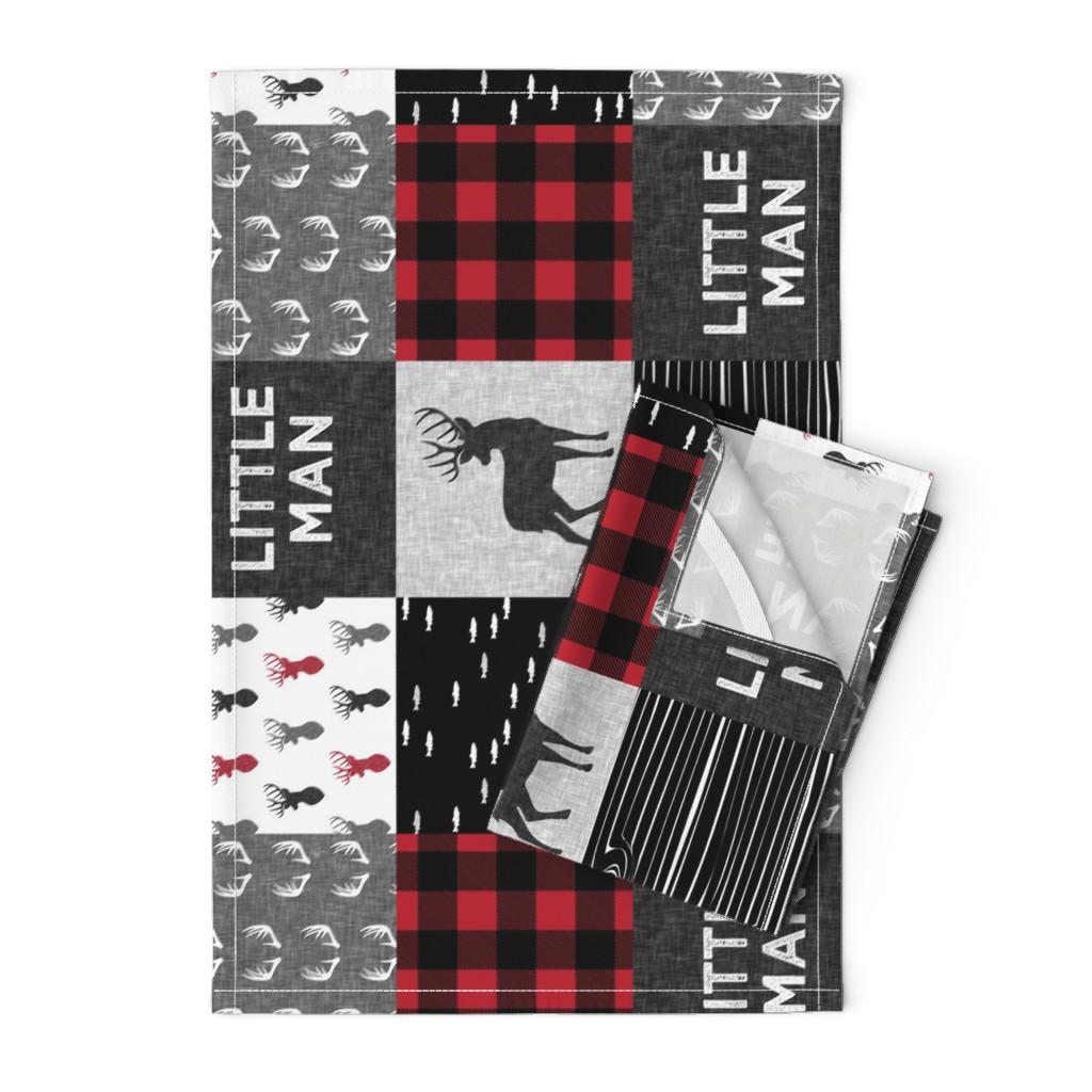 Orpington Tea Towels featuring little man (90) - red and black deer  (buck) quilt woodland by littlearrowdesign