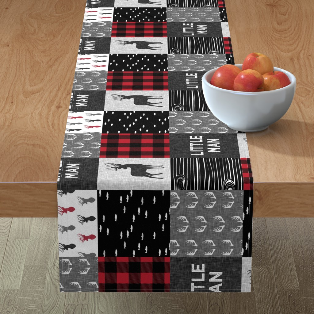 Minorca Table Runner featuring little man (90) - red and black deer  (buck) quilt woodland by littlearrowdesign