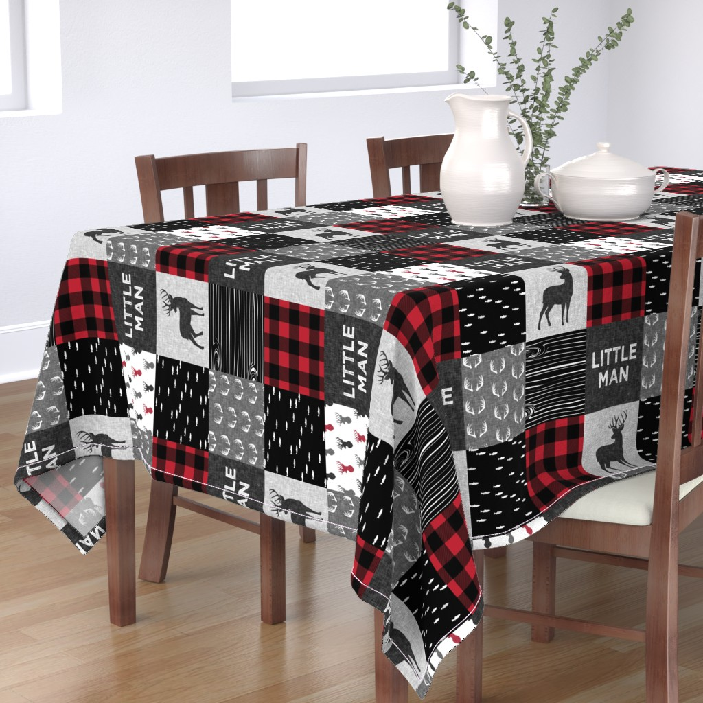Bantam Rectangular Tablecloth featuring little man (90) - red and black deer  (buck) quilt woodland by littlearrowdesign