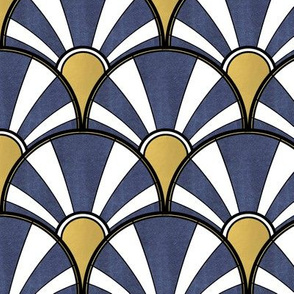 Navy, Gold and White Art Deco Fan