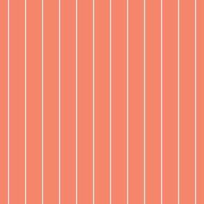 Coordinate Pinstripe - Curliques Coral - Deep Coral