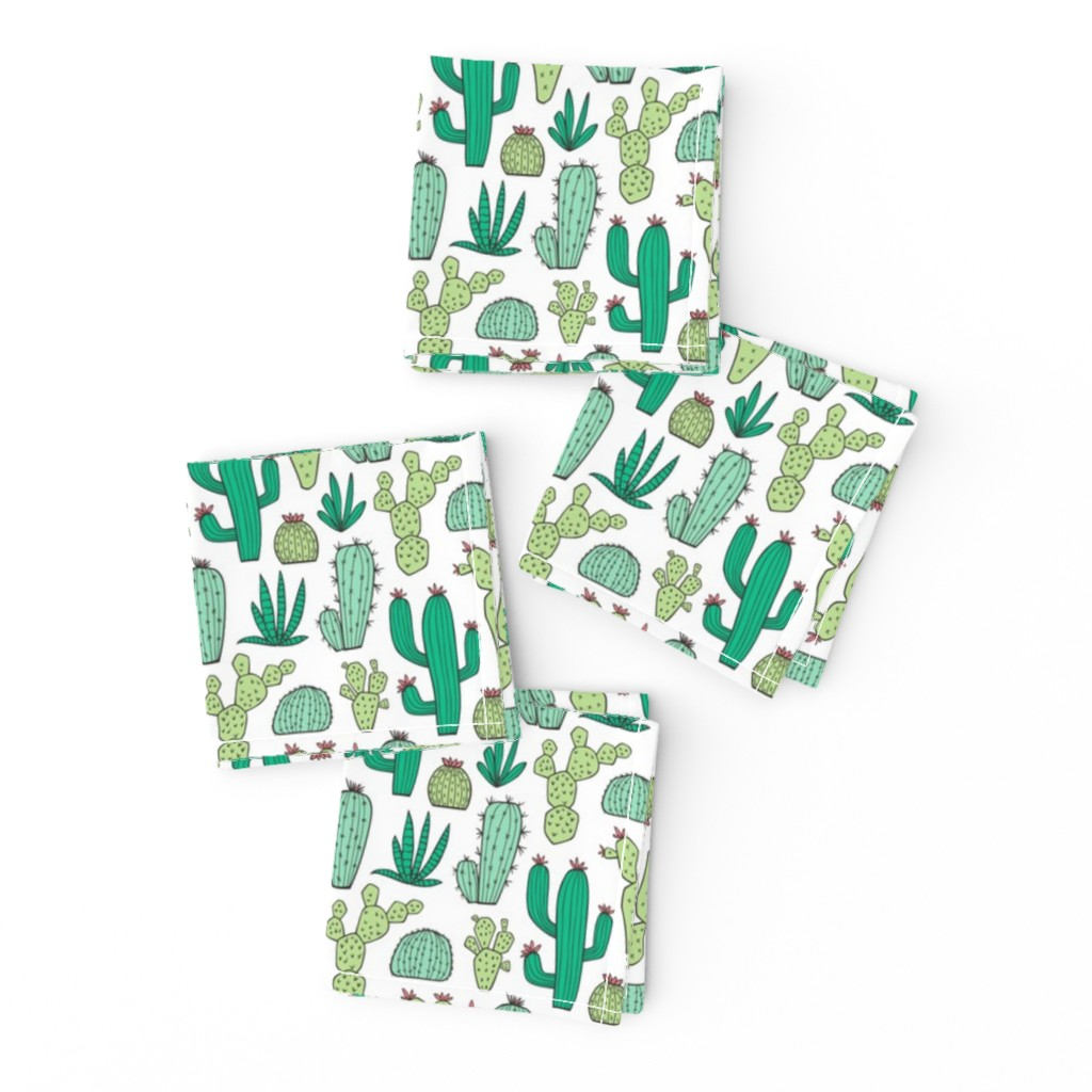Frizzle Cocktail Napkins featuring Cactus on White Smaller by caja_design