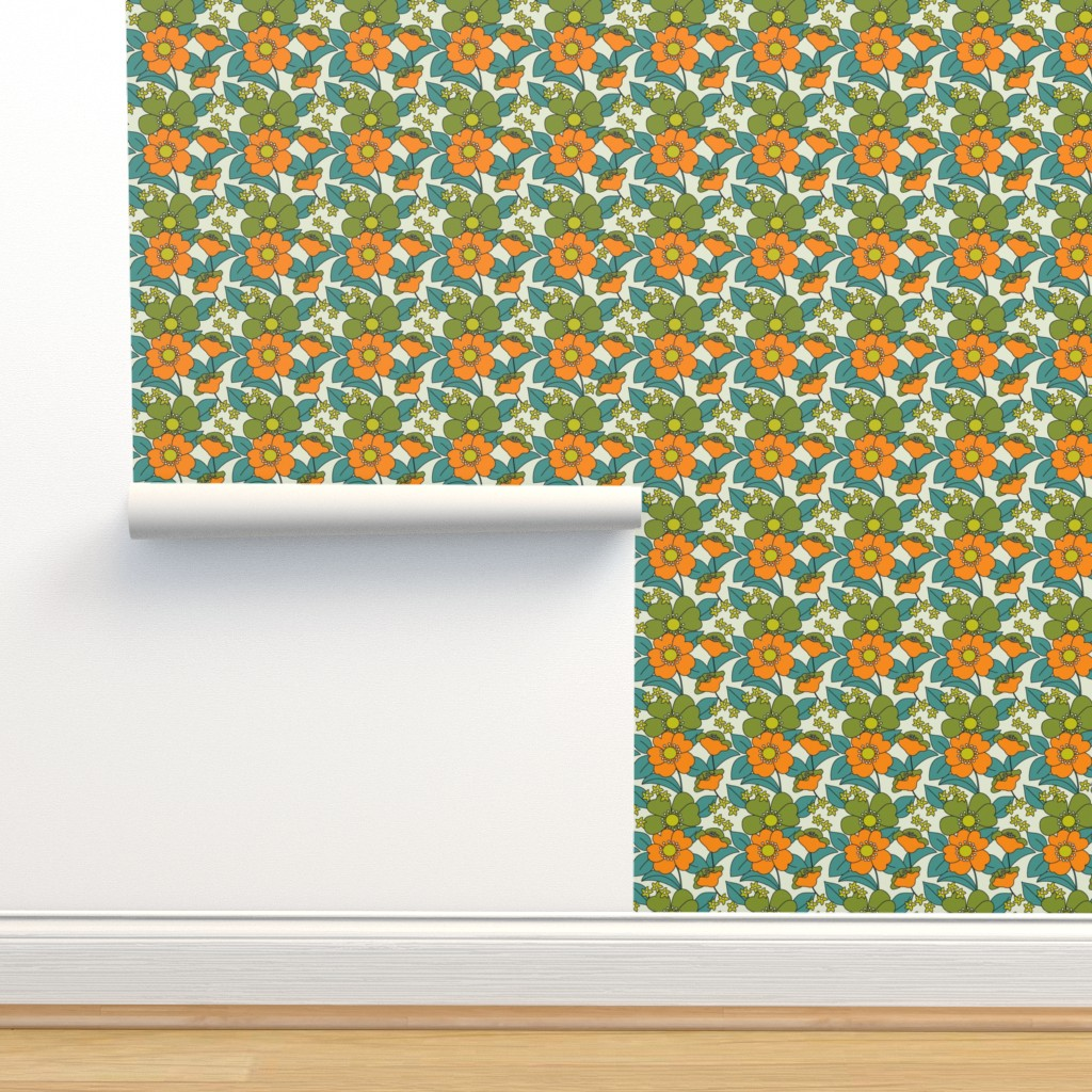 Isobar Durable Wallpaper featuring 70s Floral orange Reduced by morecandyshop