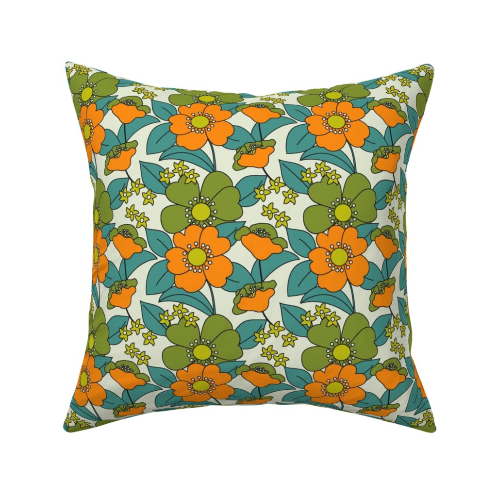 Catalan Throw Pillow featuring 70s Floral orange Reduced by morecandyshop