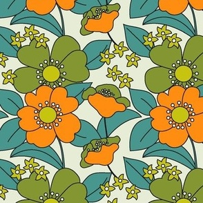 70s Floral orange Reduced