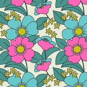 70s Floral Radiant Pink Reduced