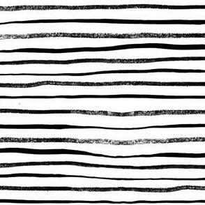 Horizontal Illusion Ink Brush Stroke Stripes on White