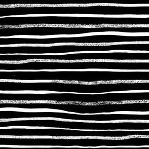 Horizontal Illusion White Brush Stroke Stripes on Black