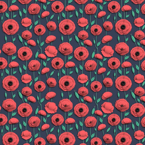 Red poppies fire red