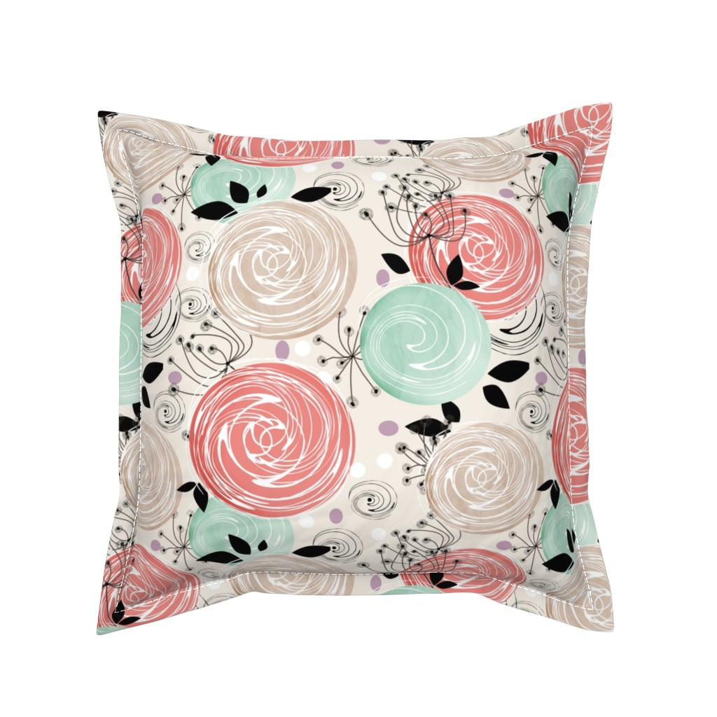 Serama Throw Pillow featuring Abstract Roses . by fuzzyfox
