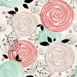 Abstract Roses .Retro, abstract flowers