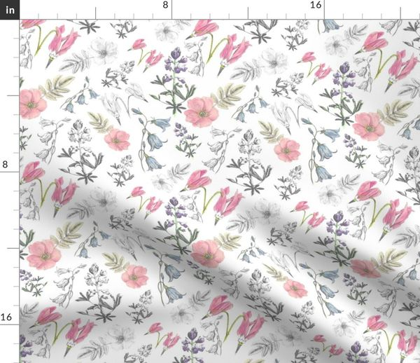 Fabric By The Yard Watercolor Wildflowers Scattered Color Large