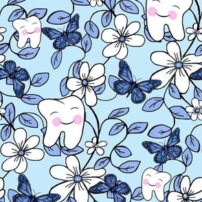 Tooth Toile Flutter / Dental Floral - Blue