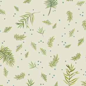 scattered leaves - sand/sage/aqua