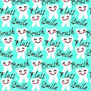 Brush Floss Smile / small Retro Aqua kawaii