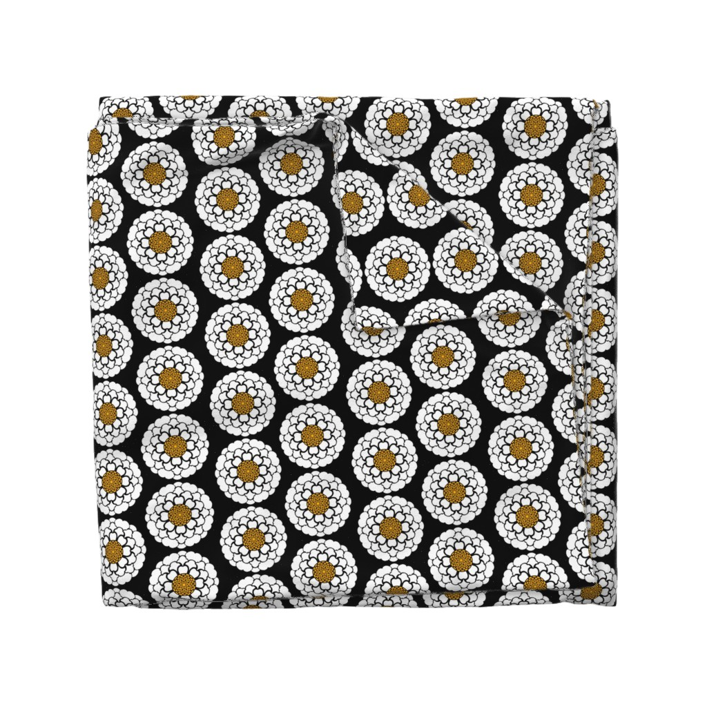 Wyandotte Duvet Cover featuring High Contrast Flower by jadegordon