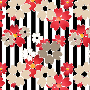 Floral pattern on a striped background