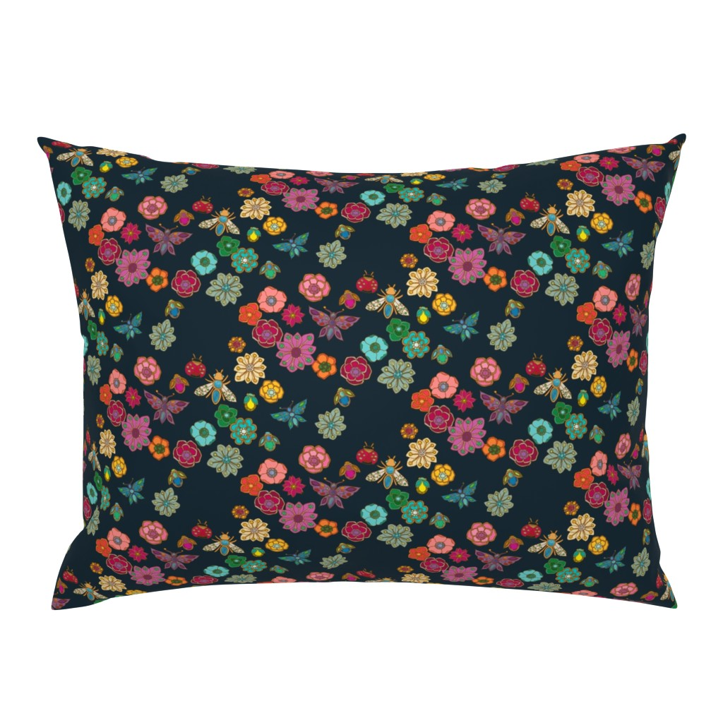 Campine Pillow Sham featuring The Jewelled Garden {Black} by ceciliamok