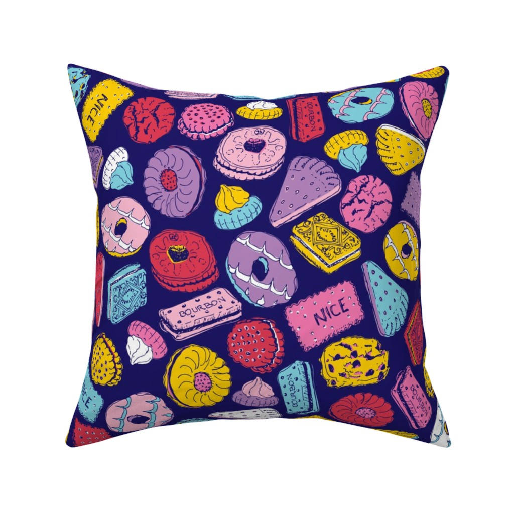 Catalan Throw Pillow featuring Biscuit Crazy by kay_whittaker_designs
