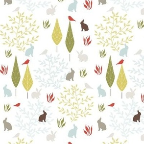 Cute bunnies and birds soft grey and pistachio green