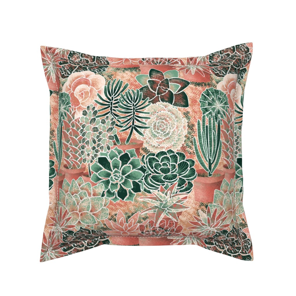 Serama Throw Pillow featuring succulent_garden by nadja_petremand
