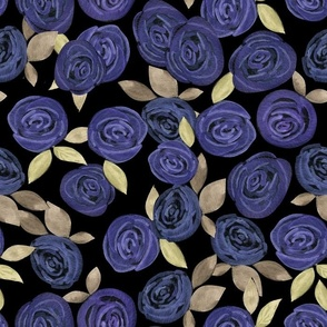 Watercolor . Blue roses .