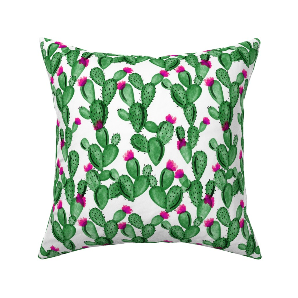 Catalan Throw Pillow featuring emerald cactus + rose // small  by ivieclothco
