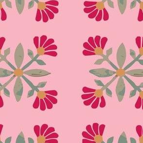 Mexican rose folk art floral vintage floral folk art retro flowers retro pink