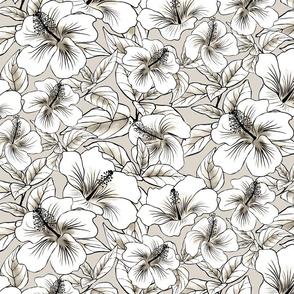 Hibiscus Batik White Pale Taupe 300