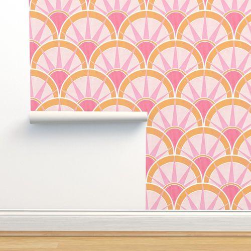 6302520 pink orange art deco fancy fan by suzzincolour