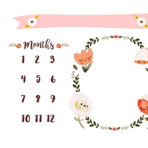 Happy Flowers Milestone Tracker  Blanket - Woven