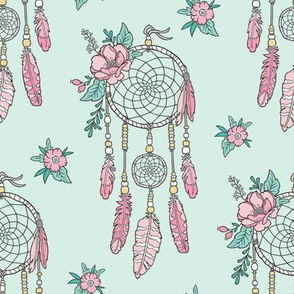 Boho Dream Catcher with Flowers and Feathers Pink on Mint